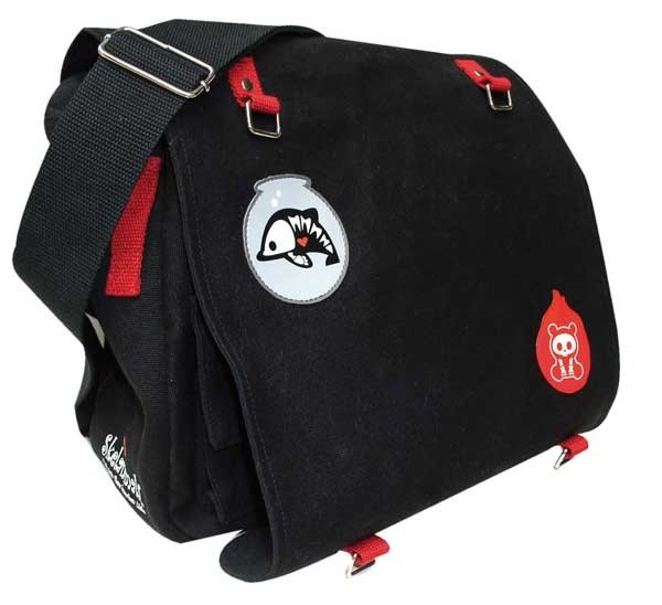 Skelanimals Canvas Shoulder Bag black/red